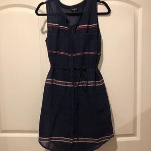 Lucky Brand Navy tie waist shirt dress